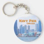 Navy Pier - Chicago Illinois Basic Round Button Key Ring