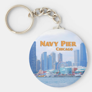 Navy Pier - Chicago Illinois Basic Round Button Key Ring
