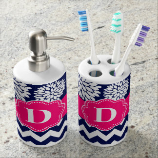 Navy Pink Chevron Monogram Bath Set