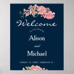 Navy pink floral elegant wedding welcome sign