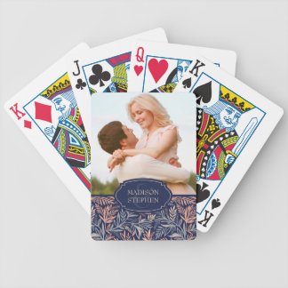 Navy & Pink Floral & Plant Pattern - Wedding Photo Bicycle Playing Cards
