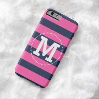 Navy Pink Monogram Preppy Stripes Barely There iPhone 6 Case