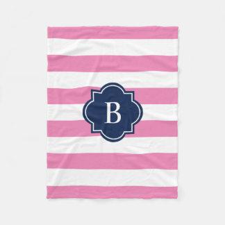 Navy & Pink Monogram Stripe | Fleece Blanket