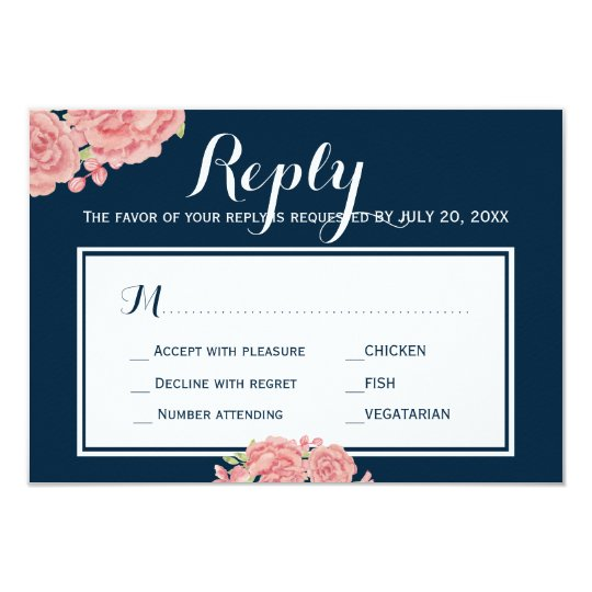 Navy pink peony wedding response meal choice RSVP