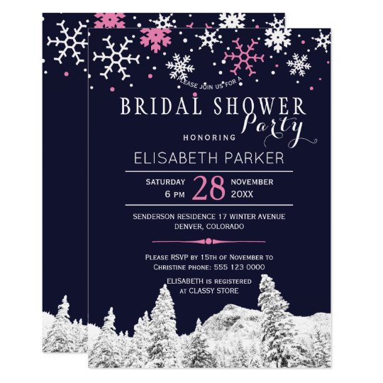 Navy pink snowflakes winter bridal shower party card