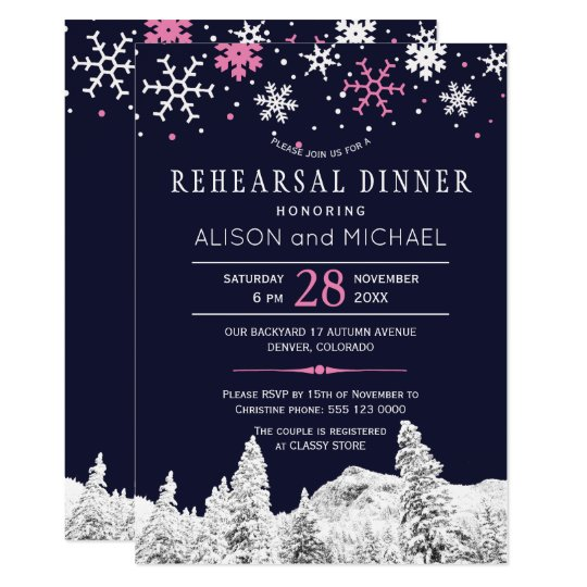 Navy pink snowflakes winter rehearsal dinner card