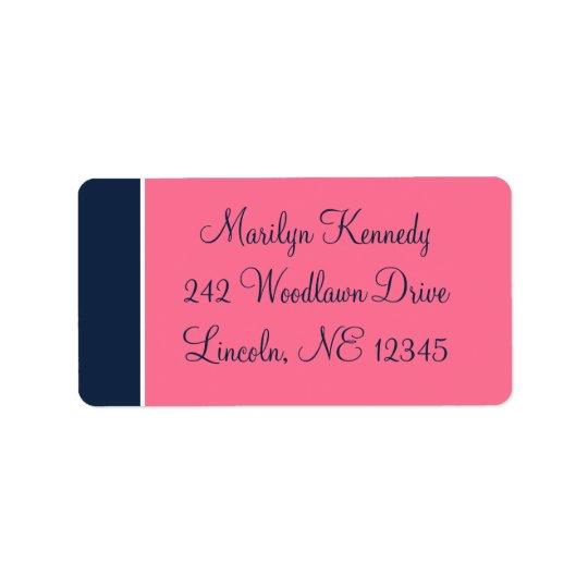 Navy, Pink, White Address Label