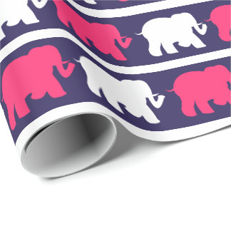 Navy, Pink & white elephants design Wrapping Paper