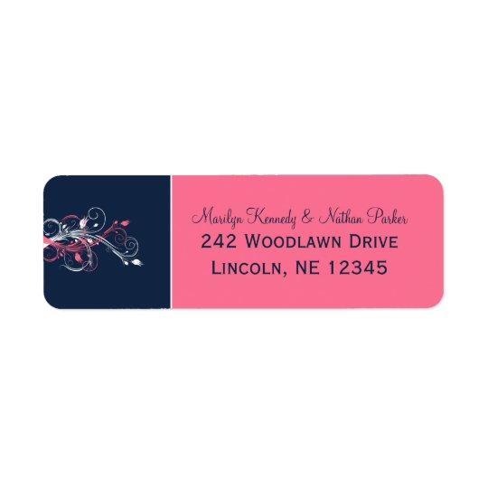 Navy, Pink, White Floral Return Address Label