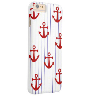 Navy Pinstripe with Red Anchors Barely There iPhone 6 Plus Case