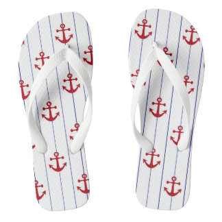 Navy Pinstriped with Red Anchors Flip Flops