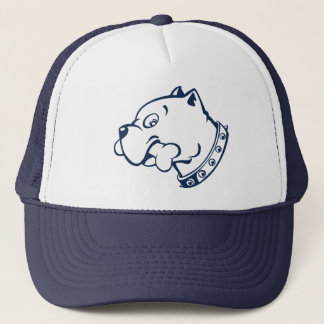Navy Pitbull Head Vector Art - Cap