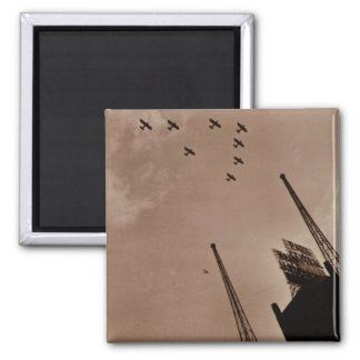 Navy Planes Fly Over Park Central Hotel WWII Square Magnet