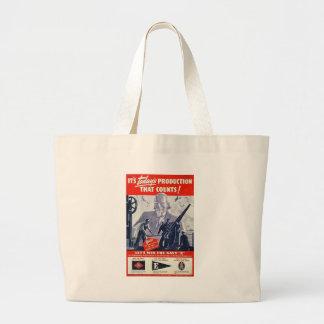 Navy Production World War 2 Jumbo Tote Bag