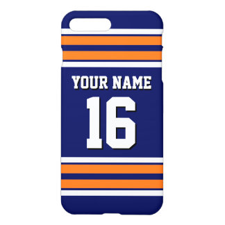 Navy Pumpkin Orange Team Jersey Custom Number Name iPhone 8 Plus/7 Plus Case