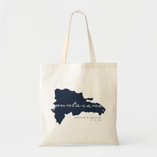 Navy Punta Cana Custom Wedding Tote Bag