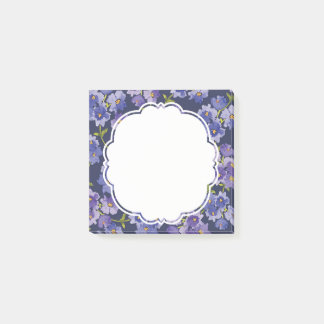 Navy & Purple Floral Pattern Post It Notes