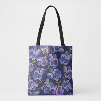 Navy & Purple Floral Pattern Watercolour Tote Bag
