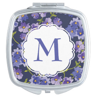 Navy Purple Floral Personalised Compact Mirror