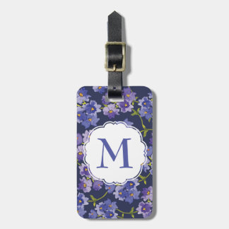 Navy & Purple Floral Personalised Luggage Tag