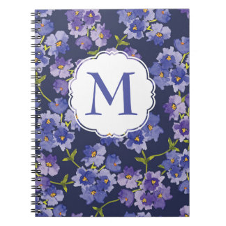 Navy & Purple Floral Personalised Spiral Notebook