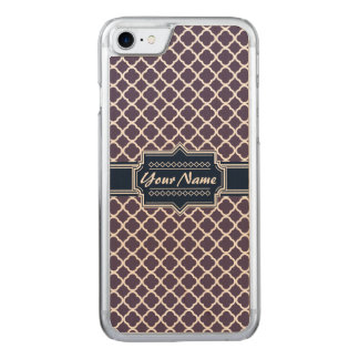 Navy, Purple Magenta Quatrefoil Carved iPhone 8/7 Case