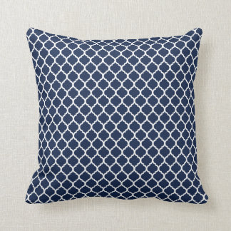 Navy Quatrefoil Cushion
