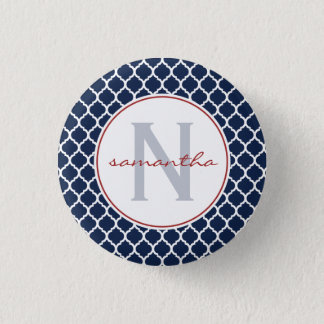 Navy Quatrefoil Monogram 3 Cm Round Badge