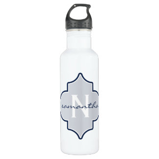 Navy Quatrefoil Monogram 710 Ml Water Bottle