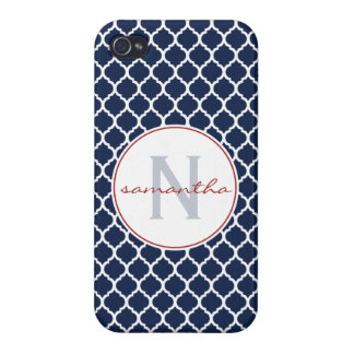 Navy Quatrefoil Monogram iPhone 4 Case