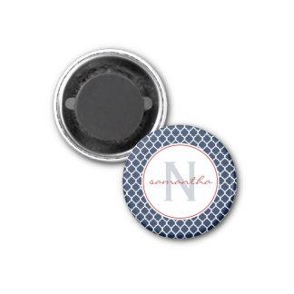 Navy Quatrefoil Monogram Magnet
