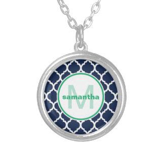 Navy Quatrefoil Monogram Round Pendant Necklace