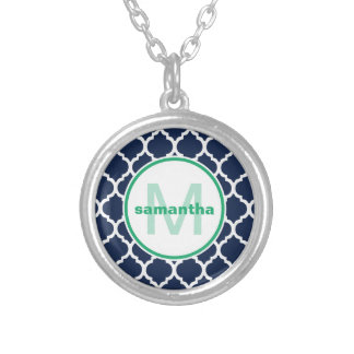 Navy Quatrefoil Monogram Silver Plated Necklace