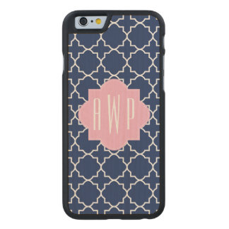 Navy Quatrefoil + Pink Monogram Carved Maple iPhone 6 Case