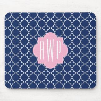 Navy Quatrefoil & Pink Monogram Mouse Pad
