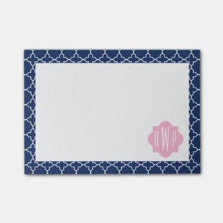 Navy Quatrefoil & Pink Monogram Post-it® Notes