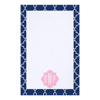 Navy Quatrefoil & Pink Monogram Stationery Design