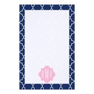 Navy Quatrefoil & Pink Monogram Stationery Design