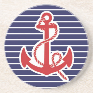 Navy red anchor coaster