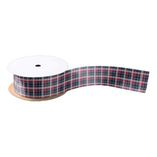 Navy, Red and Grey Sporty Plaid Ribbon Satin Ribbon