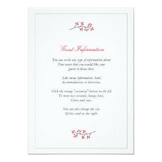 Navy & Red Floral Monogram Wedding Insert Card 11 Cm X 16 Cm Invitation Card