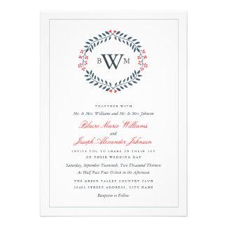 Navy Red Floral Monogram Wedding Invitation