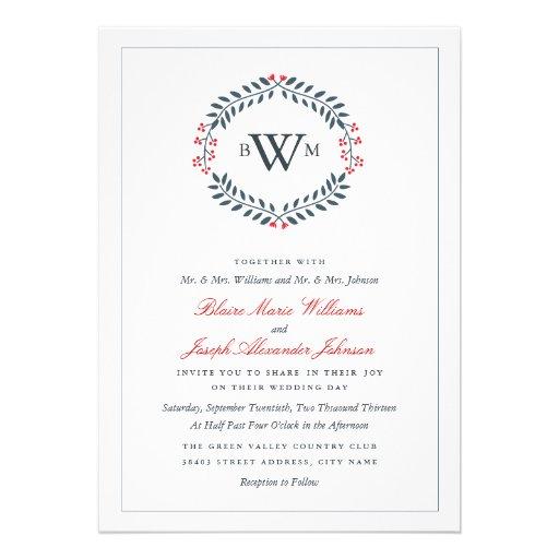 Navy & Red Floral Monogram Wedding Invitation