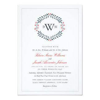 Navy & Red Floral Monogram Wedding Invitation