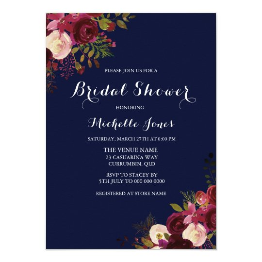 Navy & Red Floral Spring Autumn Bridal Shower Card