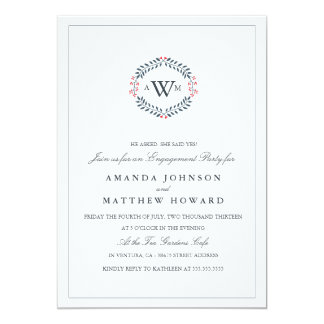 Navy & Red Floral Wedding Engagement Party Invite