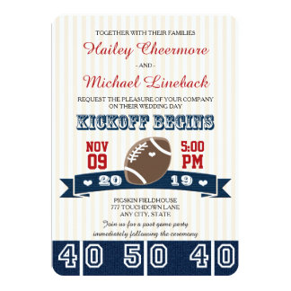 Navy Red FOOTBALL WEDDING Card