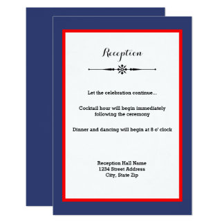 Navy & Red Frame- Reception Invitation