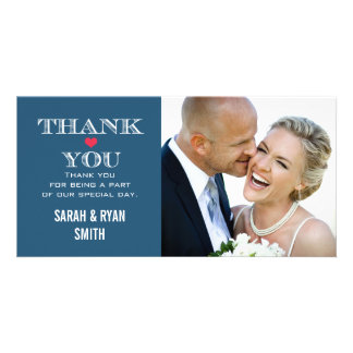 Navy Red Heart Wedding Photo Thank You Cards
