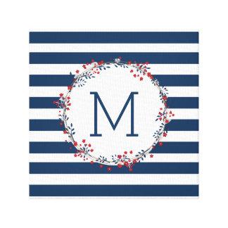 Navy red monogram wall art, modern wreath canvas print
